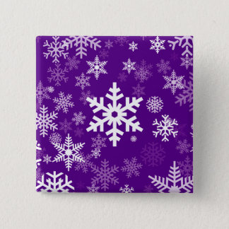 Happy Holiday Snowflakes Motif in deep purple Button