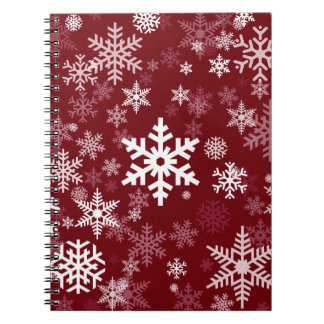Happy Holiday Snowflakes Pattern Burgundy Spiral Notebook