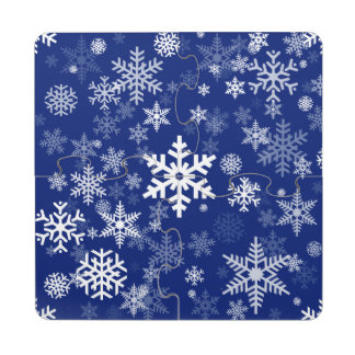 Happy Holiday Snowflakes Pattern for Everyone Puzzle Coaster
