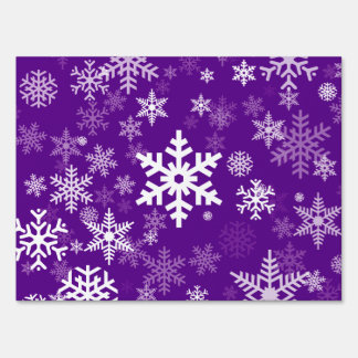 Happy Holiday Snowflakes Pattern on purple Sign
