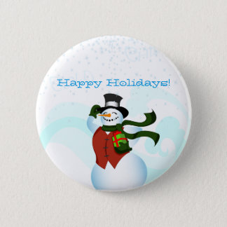 Happy Holiday Snowman Button