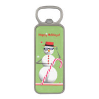 Happy Holiday Snowman Magnetic Bottle Opener
