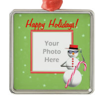 Happy Holiday Snowman (photo frame) Metal Ornament