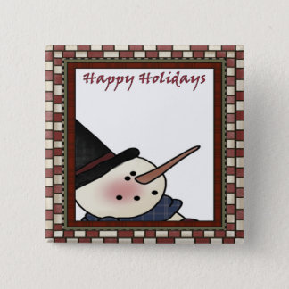 Happy Holiday Snowman Pinback Button