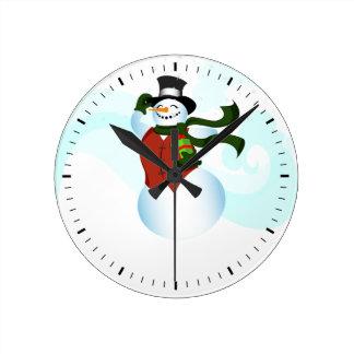 Happy Holiday Snowman Round Clock