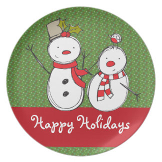Happy Holiday Snowman Tableware Dinner Plate