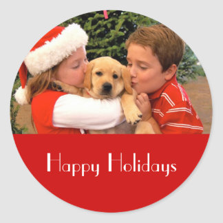 Happy Holiday Stickers with New Puppy