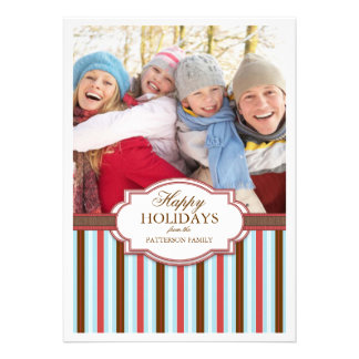 Happy Holiday Stripes Large Photo Card Greeting