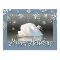 Happy Holiday Swans Postcard