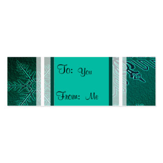 Happy Holiday Teal Snowflakes Double-Sided Mini Business Cards (Pack Of 20)