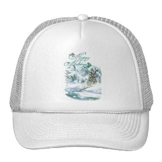 Happy Holiday Winter Painting Trucker Hat