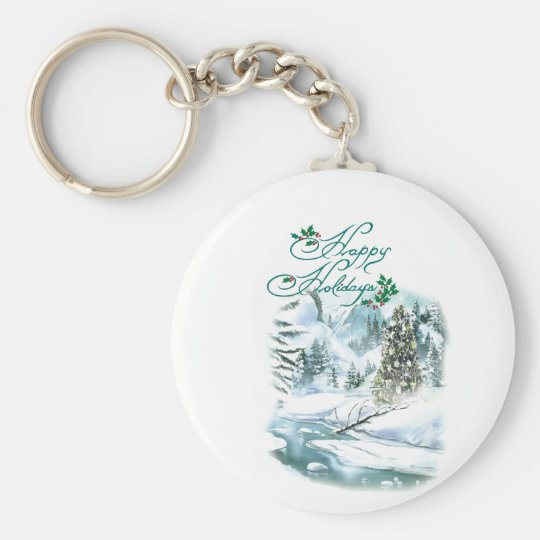 Happy Holiday Winter Painting Keychain