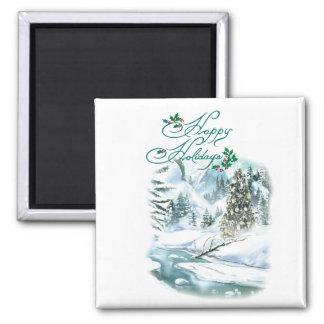 Happy Holiday Winter Painting Fridge Magnet