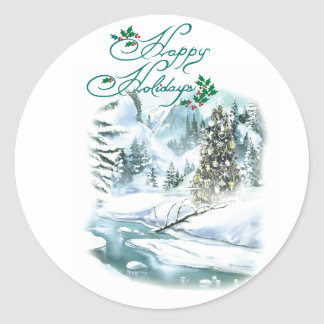 Happy Holiday Winter Painting Round Sticker