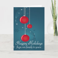 Happy Holiday with Red Ornaments 2 card