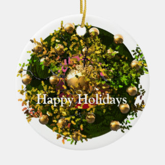 Happy Holiday Wreath Ceramic Ornament