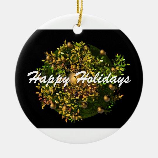 Happy Holiday Wreath Ceramic Ornament