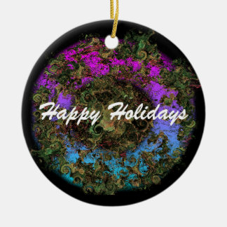 Happy Holiday Wreath Christmas Ornaments