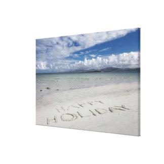 Happy Holiday Written On Eilogarry Beach Canvas Print