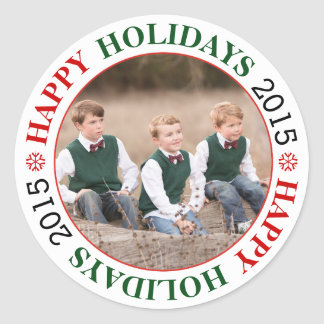 Happy Holidays 2015 red, green Christmas photo Classic Round Sticker