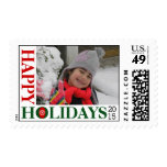 Happy Holidays 2015 snowflake red Christmas photo Postage