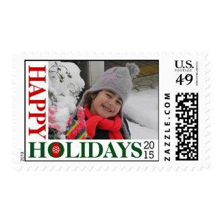 Happy Holidays 2015 snowflake red Christmas photo Postage