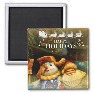 Happy Holidays 2 Inch Square Magnet