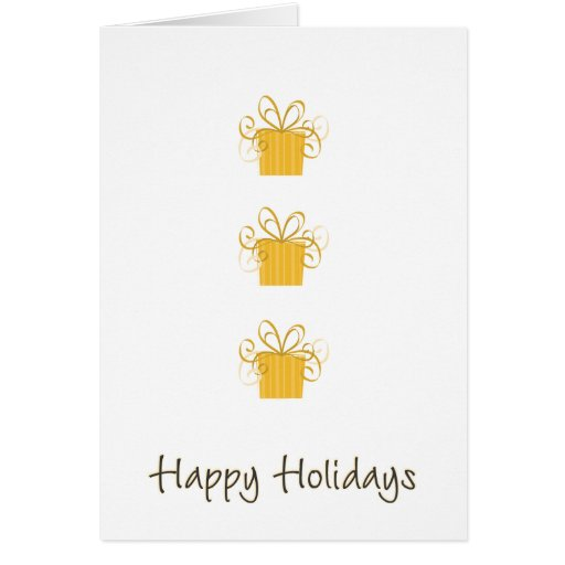 Happy Holidays 3 Gold Gifts Greeting Cards