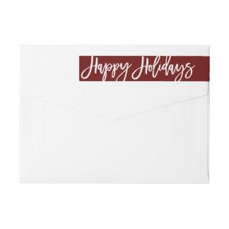 Happy Holidays Address Label, wraparound Wrap Around Label