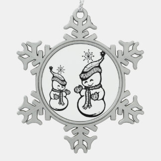 Happy Holidays! Adult & Child Snow People Snowflake Pewter Christmas Ornament