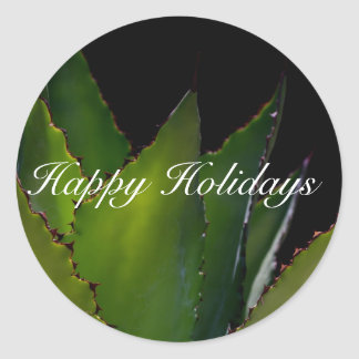 Happy Holidays Agave Classic Round Sticker