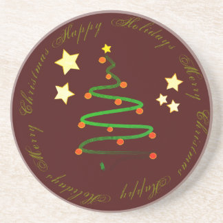 Happy Holidays and Merry Christmas Sandstone Coaster