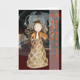 Happy Holidays angel card card
