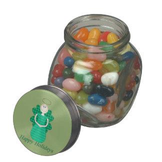 Happy Holidays Angel Glass Candy Jar
