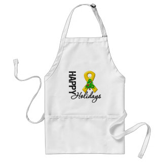Happy Holidays Appendix Cancer Awareness Adult Apron