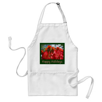 Happy Holidays aprons Red Roses Flowers Green