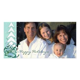 Happy Holidays Aqua Blue Family Photo Card