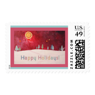 Happy Holidays Artwork Postage Stamps