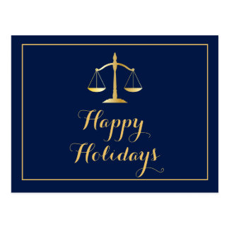Happy Holidays Attorney Law Firm Scales Postcard
