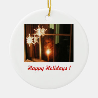 Happy Holidays ! - Audrey Ceramic Ornament