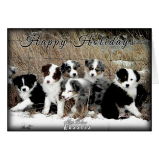 Happy Holidays Australian Shepherd Greeting Card