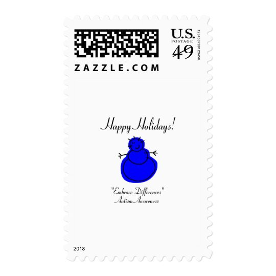 Happy Holidays Autism Awareness Postage