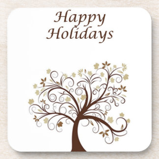 Happy Holidays Autumn Tree Cork Coaster