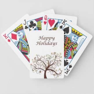 Happy Holidays Autumn Tree Bicycle Playing Cards