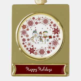 Happy Holidays Banner Ornament Gold Plated/Snowmen