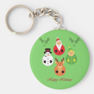 Happy Holidays! Basic Round Button Keychain