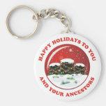 Happy Holidays Basic Round Button Keychain