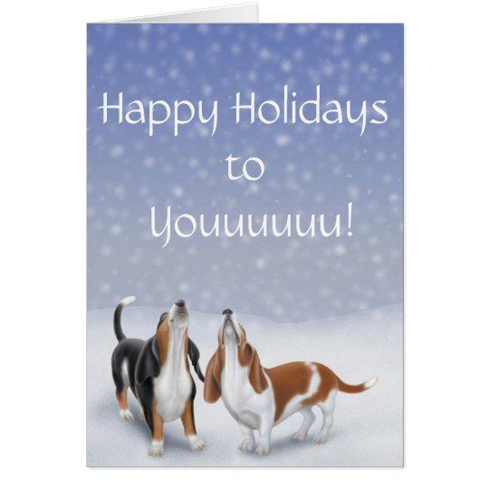 Happy Holidays Basset Hounds Card