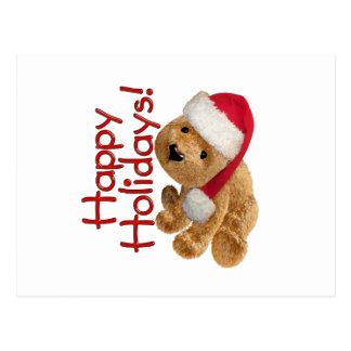 Happy Holidays Bear Postcard