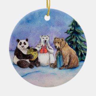 Happy Holidays Bears Custom Christmas Ornaments